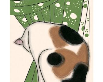 "Cat Art Print - Cat Artwork - Cat Wall Art - Whimsical Cat Art -   Gus Grooming - 4"" X 6"" print - 4 for 3 SALE"