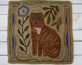 "Primitive Hooked Rug ""Marmalade"" 19 1/2"" x 19 1/2"""