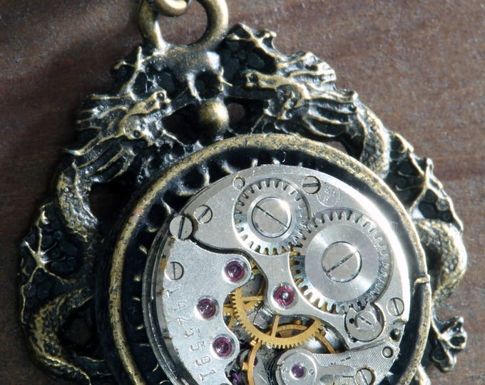 Steampunk Jewelry -  Pendant - Dragon and Antique Watch Movement
