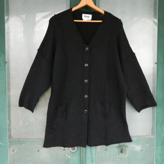 FLAX Engelhart Seamed Cardigan with Pockets O/S Plus Size Black Merino Wool