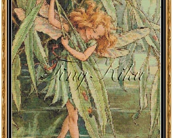 WILLOW FAIRY, Cicely Mary Barker Counted Cross Stitch Pattern.  Instant Digital Download, PDF Symbols on Colored Blocks.Large Print.