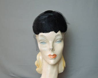 Vintage Black Feather Hat, 1950s Cap with Veil, Miss Sally Victor, 21 inch head