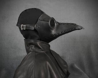"Plague Doctor mask ""Bubonis"" in black leather"