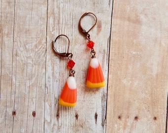Candy corn earrings - halloween earrings - halloween jewelry - candy corn