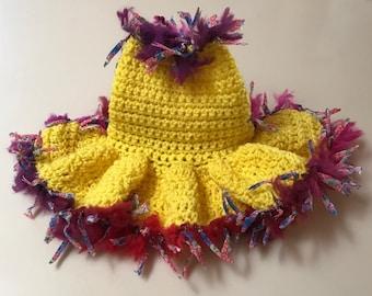 XS Crochet Yellow Flirty Ruffle Sweater Dress