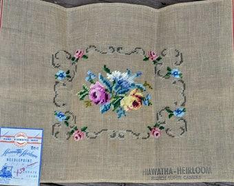 "Vintage Floral Hiawatha Heirloom Needlepoint - Preworked Needlepoint Canvas #200 - 15"" X 20"" - French Super Canvas - Rectangular Pillow"