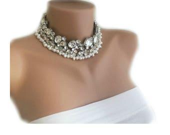Bridal Choker, Wedding Choker, Handmade Necklace, Crystal Necklace, Wedding Necklace