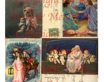 Christmas Angels Digital Collage Ephemera