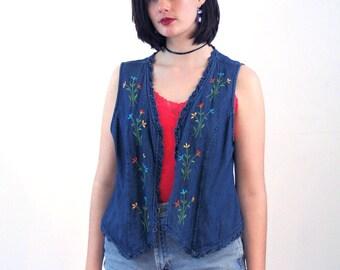 Josefina, 80s Embroidered Denim Vest, Floral Denim Vest, Embroidered Blue Jean Vest, Denim Boho Vest, Embroidered Floral Vest, L