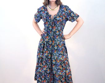 Maarika, 80s Blue Floral Dress M, Soft Rayon Dress, Boho Midi Dress, Floral India Dress, Short Sleeve Button Up Navy Floral Vintage Dress