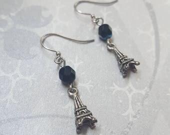SALE - Silver Eiffel Tower & Black Czech Earrings - Bella Mia Beads - READY to SHIP
