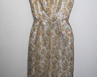 metallic brocade 1960s wiggle dress 60s vintage sparkly silver + gold bombshell dress medium