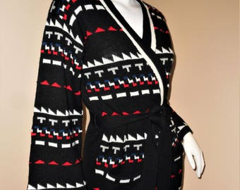 Vintage 70s Southwestern Inspired Belted Wrap Cardigan Sweater M