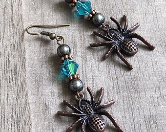 Bronze Spider Earrings Gothic Spider Jewelry Large Charms Teal Green Crystals Cosplay Spiderman Spidergirl Earrings Halloween Comic Wear
