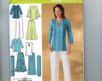 Womens Sewing Pattern Simplicity 4149 Tunic Top Skirt Pants Plus Size 20W 22W 24W 26W 28W Bust 42 44 46 48 50 UNCUT