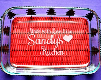 3 Piece Holiday Bakeware Set~Personalized Custom Engraved Glass Casserole Baking Dish with Serving Basket and Lid~Limited Quantities - #3