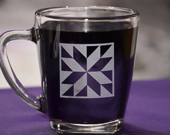 Quilters Block Star Glass Coffee Mug, Birthday Gift for Quilters, Sewers Coffee Cup, Six Different Quilt Block Patterns