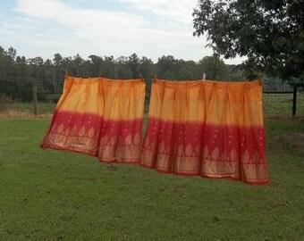 Pair Boho Curtains Handmade 36x27 Pleated Deapes Moroccan Style Decor Boho Window Treatments Set of 2