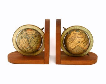 Pair of Vintage Old World Spinning Globe Bookends on Wood Bases (As Is)