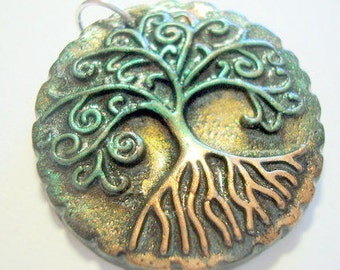 Yggdrasil Tree of Life Pendant Handmade Polymer Clay Focal Bead