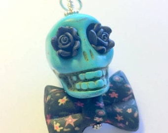 Big Turquoise and Black Sugar Skull Day of the Dead Pendant or Ornament Bow Tie and Roses
