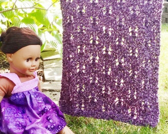 """pdf Knitting Pattern for """"Mhyllot Afghan for 18 inch dolls"""" -- PATTERN -- 18"""" Doll Size 18 inch Small Tiny Fashion Doll Throw Afghan"""