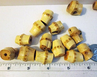 Wood Beads, Bamboo Beads, 22x15mm, Varnished, Creamy Beige Bamboo, Bamboo Tube Beads, QTY 5 beads - wb224
