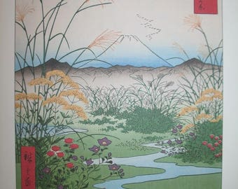 Hiroshige Otsuki no Hara Woodblock Print 1858 for Art and Craft