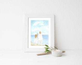 Nautical Children/ Ocean Nursery Art PRINT/ Watercolor Painting/ Baby Wall Art/ Navy Home Decor/ Girl Nursery/Shabby/5x7/8x10 print/11x14