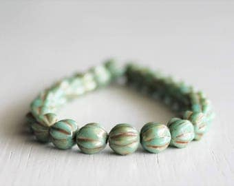 25 Green Turquoise Picasso 6mm Czech Glass Melon Beads