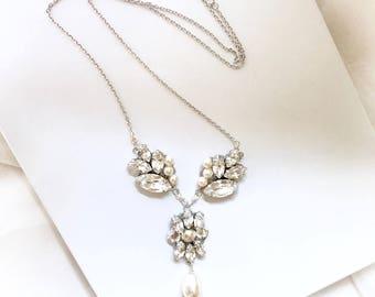 Pearl Bridal Necklace // Pearl and Rhinestone y necklace  // Swarovski Necklace sweetheart neckline necklace EZRA NECKLACE