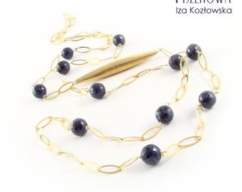 Chain - sapphires - gold-plated silver chain with sapphires