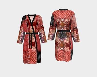 Red Patchwork Sun Moon Peignoir, Boho Modern Hippie Style Pattern Women's Drapey Luxurious Wrap Waist Belt Robe
