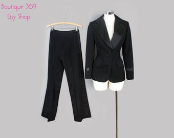 Women's Black Vintage Designer Tuxedo Suit - MED