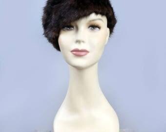 Real Brown Mink Fur Hat Beret Style Vintage 50's 60's
