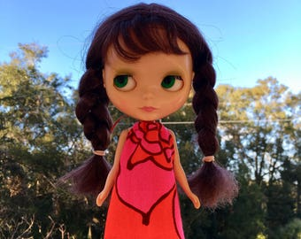 Psychedelic Mod Blythe Doll Floaty Dress (Tent/Trapeze/GoGo/Groovy/1960s/Vintage Fabric)