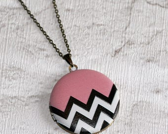 Geometric Locket Necklace, Chevron Necklace