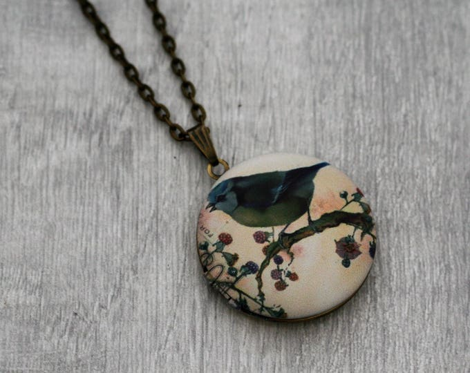 Birds Locket Necklace, Bird Necklace, Woodland
