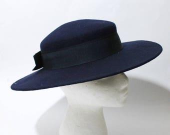 1980s Navy Bow Tie Wide Brim Fedora Hat