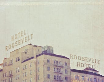 Hollywood Roosevelt Hotel photograph, Los Angeles print, Marilyn Monroe, LA art, haunted, silver blue architecture, winter grey, California