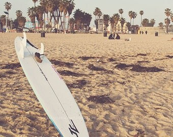 surfer decor, surfboard photo, beach photograph, Venice Beach, palm trees, summer vacation, LA, for him, nautical, California travel