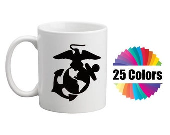 Coffee Cup Mug Decal Marine Emblem Marines Military Custom DIY Yeti Tumbler To Go Cup DIY Gift  Decal