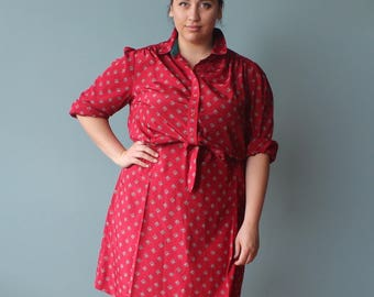 vintage plus size dress | red belted shirt dress | 1980s XL - XXL