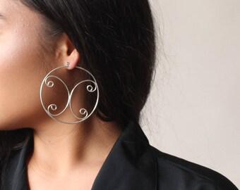 vintage silver butterfly hoop earrings