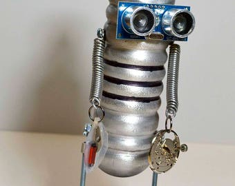 assemblage bot robot fishing float steampunk art sculpture figure man unique OOAK recycled parts watch desk office gift