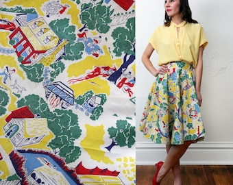 SALE Top & Skirt Yellow 2 Pc Blouse. Circle Skirt.