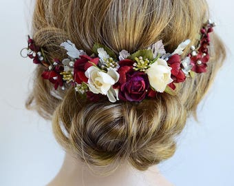burgundy headpiece, floral hair piece, burgundy and silver hair clip, bridal headpiece, burgundy hair flower, silver wedding, red rose