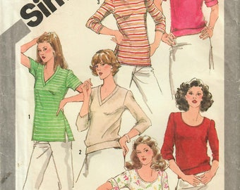 1980s Simplicity 5133 UNCUT Vintage Sewing Pattern Misses Tops, Bateau Top, T-shirt, Pullover Top Size 16-18-20 Bust 38-40-42