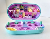 Polly Pocket Dolls, Babysitting Stamper Bluebird Toy Compact, Vintage 1992 Playset, turquoise and pink, nursery house missing play stamps