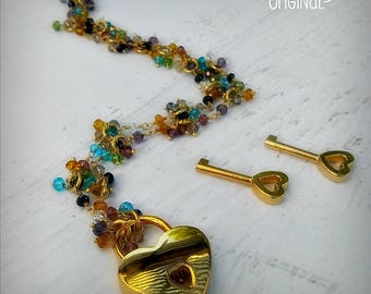 Cherished - Multi Gemstone Discrete BDSM Collar - Day Collar - Working Lock & Key - 24k Gold - Locking Collar -  Rainbow - OOAK